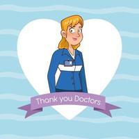 professional female paramedic avatar character vector