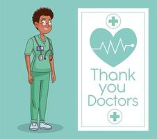 professional black female doctor avatar character vector