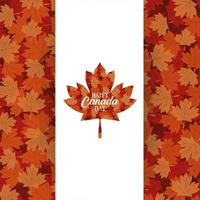 canada day celebration card with maple leaves foliage vector