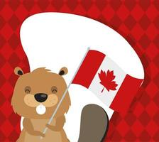 canada day celebration card with beaver and flag vector