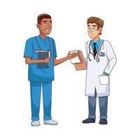professional doctor and surgeon characters vector