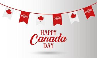 canada day celebration card with garland flag vector