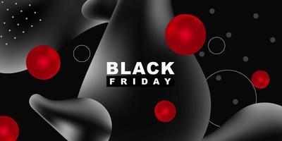 Black friday vector background. Dark Template for black liquid banner. Trendy modern style