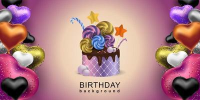 fondo feliz cumpleaños. Globos de colores en forma de corazón y banner de invitación de vector de pastel de chocolate.