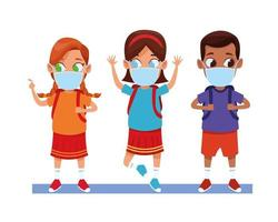 diverse kids using face masks for covid19 vector