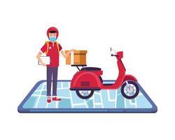 Smartphone con trabajador de entrega con mascarilla en motocicleta vector