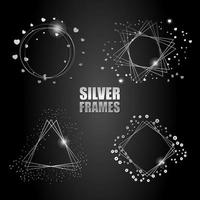 Set of vector silver frames. Round frame with a heart. Geometric shapes and metallic spangles.