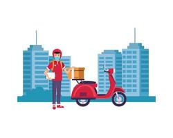 delivery worker with face mask with motorcycle in the city vector