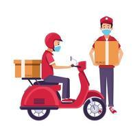 trabajadores de entrega con máscaras faciales y motocicleta vector