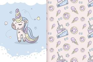 Little cute unicorn on a blue background with stars. Vector hand drawn illustration and seamless pattern