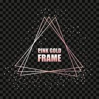 Rose gold metal realistic triangular frame for text banner, card. Wedding invitation, birthday and celebration. Vector isolated object on a black background with shiny sparkles. Luxury illustration