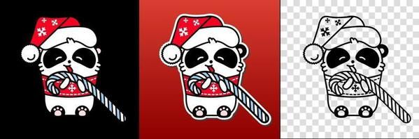 Panda kawaii santa set. Cute vector happy bear in a Christmas hat eats a lollipop. Linear style illustration on a white background. Sticker, print for coloring.
