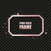 Rose gold metal realistic rectangular frame for text banner, card. Wedding invitation, birthday and celebration. Vector isolated object on a black background with shiny sparkles. Luxury illustration