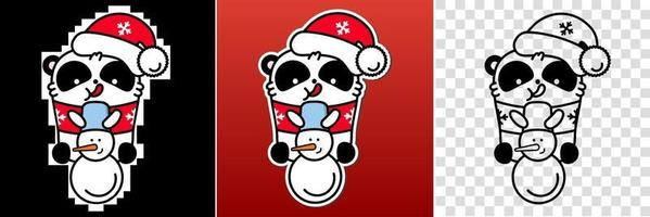 Panda kawaii santa set. Cute vector happy bear in christmas snowman hat. Linear style illustration on a white background. Sticker, print for coloring.