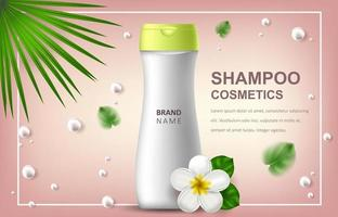 Vector realistic illustration with blank of a bottle for shampoo. Tropical Hawaiian flowers frangipani. Banner for advertising and promotion of cosmetic products. Use for posters, cards