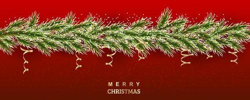 Xmas tree illustration. Snowy branches of spruce with gold serpentine. Vector background for banners, sites, invitations. Realistic border on a red background