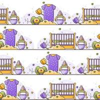 Vector seamless color pattern with baby accessories for newborn. Birth of a child, feeding and care. Use for backgrounds, wallpaper, wrapping paper, textiles. Linear style