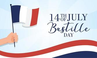 Bastille day celebration card with hand waving a French flag vector