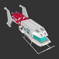 Ilustración de una nave espacial retro.