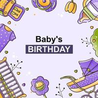 Vector set of baby accessories for the newborn. Crib, chair, stroller, bottle, toy and clothes in a linear style. Background for invitation, metrics, cards.