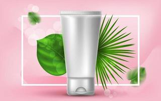 Vector realistic cosmetic illustration with a plastic tube of cream or lotion. Tropical palm leaves on a pink background. Banner for the advertising and promotion of facial cosmetic products.