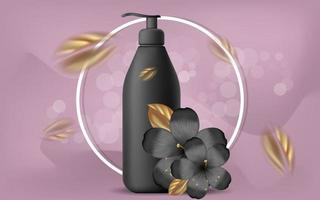 Vector realistic illustration with empty black shampoo or gel bubbles. Tropical Hawaiian flowers and golden leaves. Banner for advertising and promotion of cosmetic products. Use for posters, cards