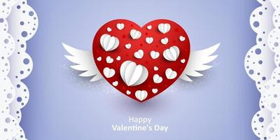 Happe Valentine's Day. Vector sweet and cute purple background with paper cut red hearts with wings Background for wedding site and invation