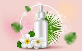 Vector realistic illustration with white mockup of a bottle for serum. Tropical Hawaiian flowers and golden leaves. Banner for advertising and promotion of cosmetic products. Use for posters, cards