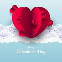 Valentine's Day. Vector pastel blue background with red 3D paper cut hearts. A nice lace ornament. A place to text. Banner or invitation for a wedding or holiday. Love