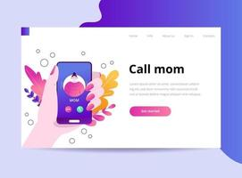 Mom's on the phone. Incoming call on the smratphone. The hand holds the phone. Vector template for landing page and website. Flat trendy illustration Parental care