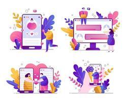 conjunto de ilustraciones vectoriales de tendencia plana sobre un fondo blanco con personajes y hojas botánicas. aplicaciones para citas online. la gente se comunica en un teléfono inteligente en las redes sociales, pone me gusta vector