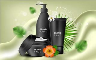 Vector realistic illustration with black blank of a bottle for cream and gel. Tropical Hawaiian flowers frangipani. Banner for advertising and promotion of cosmetic products. Use for posters, cards