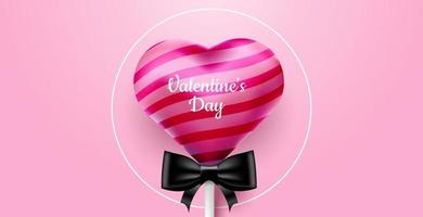 Valentine's Day. Vector sweet and cute pink background with realistic 3D candy lollipop. Banner for the site or postcards