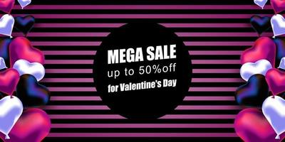 Valentine's Day. Vector banner with realistic ballons in the shape of a heart and a striped background. Mega discount offer. Banner, postcard with a place for text