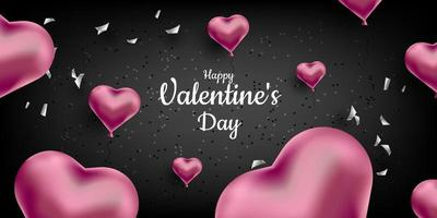 Valentine's Day. A sweet cute black background with realistic 3D hearts and confetti. Vector illustration for banner, card. Wedding invitation, Mother's Day