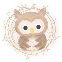 linda ilustración de búho en estilo acuarela vector