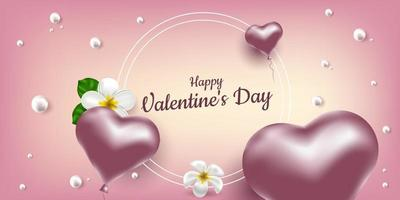 Happe Valentine's Day. Vector banner with pink air balloons in the shape of a heart, flower frangipani and pearls. Place for text, frame. Realistic illustration