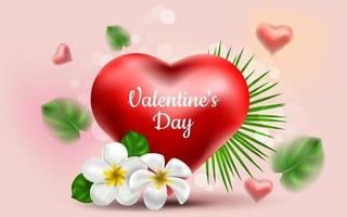 Valentine's Day. Vector sweet and cute pink background with realistic 3D red haeart and exotic leaves and flower frangipani. Banner for the site or postcards. Place for text