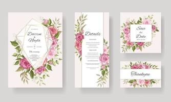 Beautiful floral geometric wedding invitation card template set vector