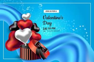 Valentine's Day. Vector illustration with a packing red box and heart-shaped balloons. Invitation to a holiday, wedding and birthday. Blue backdrop and copyspace