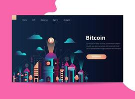 Vector illustration. Futuristic cityscape. The city of the future. A symbol of bitcoin and blockchain. Geometric shapes and memphis style. Landing page template