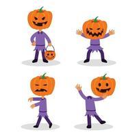 conjunto de caracteres planos jack pumpkin lantern vector