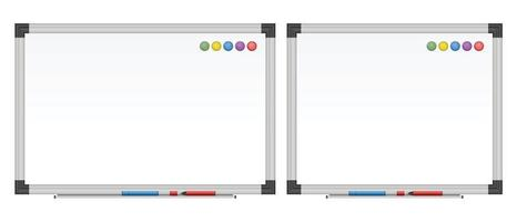 Empty white board set vector illustration