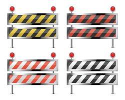 Under construction barrier for road set vector