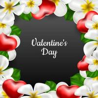 Valentine's Day. Vector realistic background frame of exotic flowers frangipani and red hearts. Banner, invitation, frame with place for text