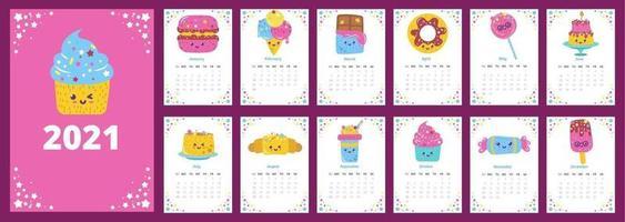 calendario 2021 con postres de patrón vector