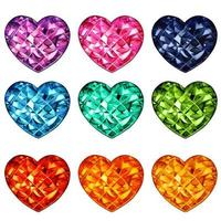 Colorful watercolor crystal heart shaped gems collection vector