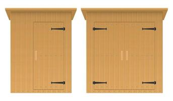 Wooden shed vector illustration isolated on white background set