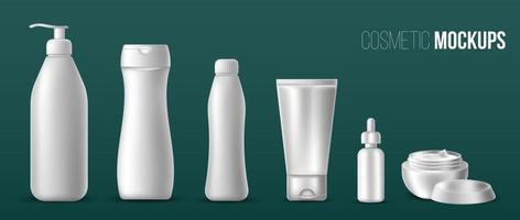 conjunto de tubos vacíos realistas blancos para pasta de dientes, crema, loción, gel, pintura. vector objetos aislados sobre un fondo oscuro. maqueta para banner, tarjeta. Ilustración de embalaje de producto.