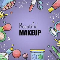 Accessories set for a beautiful make-up. Mascara, foundation, eye shadow, lipstick. Vector banner for a site with cosmetics for woman face, Fashion border and frame. Linear style